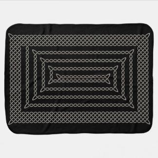 Silver And Black Celtic Rectangular Spiral Stroller Blankets