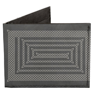 Silver And Black Celtic Rectangular Spiral Tyvek® Billfold Wallet