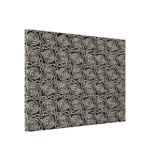Silver And Black Celtic Spiral Knots Pattern Canvas Print