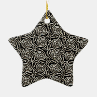 Silver And Black Celtic Spiral Knots Pattern Ceramic Ornament