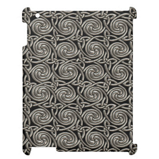 Silver And Black Celtic Spiral Knots Pattern iPad Cover