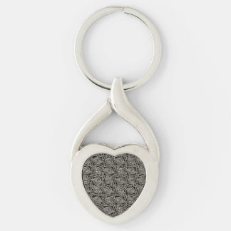 Silver And Black Celtic Spiral Knots Pattern Keychain