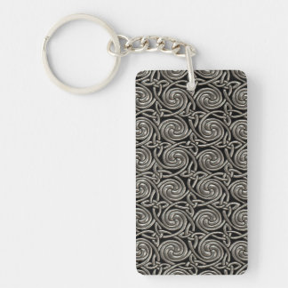 Silver And Black Celtic Spiral Knots Pattern Double-Sided Rectangular Acrylic Keychain