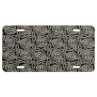 Silver And Black Celtic Spiral Knots Pattern License Plate