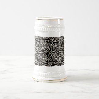 Silver And Black Celtic Spiral Knots Pattern 18 Oz Beer Stein