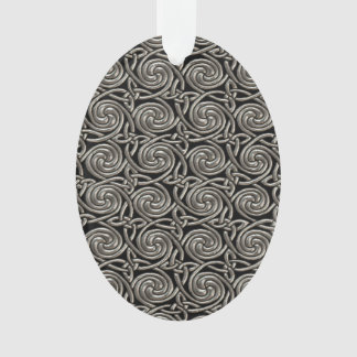 Silver And Black Celtic Spiral Knots Pattern Ornament