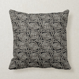 Silver And Black Celtic Spiral Knots Pattern Pillows