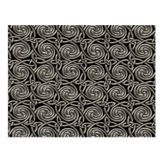 Silver And Black Celtic Spiral Knots Pattern Postcard