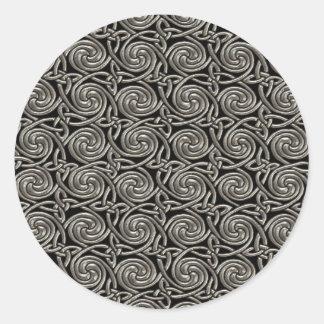 Silver And Black Celtic Spiral Knots Pattern Round Sticker