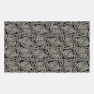 Silver And Black Celtic Spiral Knots Pattern Rectangular Sticker