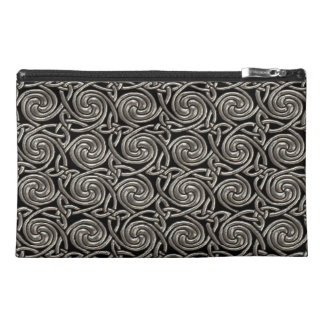 Silver And Black Celtic Spiral Knots Pattern Travel Accessory Bag