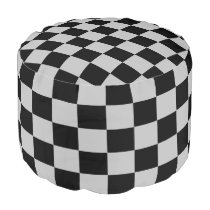 Silver and Black Checked Ottoman