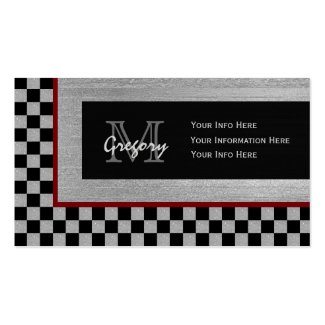 Silver And Black Checkered Monogram Business Cards Pack Of Standard Business Cards