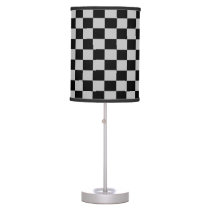 Silver and Black Checkered Shaded Lamp