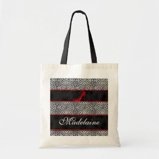 Silver and Black Cheetah with Red Custom Tote Bag