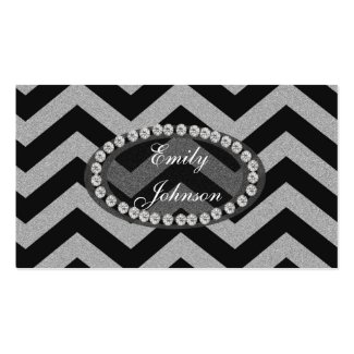 Silver and Black Chevron Pattern Business Card