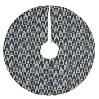 Silver And Black Christmas Tree Holiday Pattern Brushed Polyester Tree Skirt