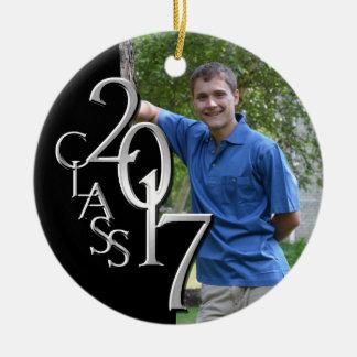 Silver and Black Class 2017 Graduation Photo Ceramic Ornament