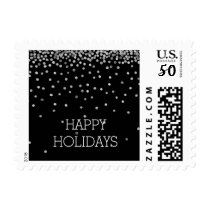 Silver and Black Confetti Dots Holidays Postage