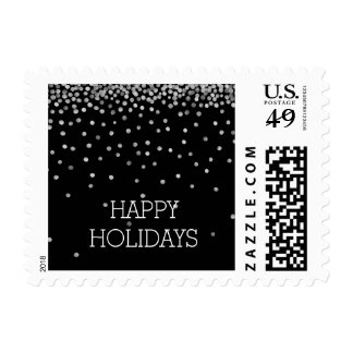 Silver and Black Confetti Dots Holidays Stamp