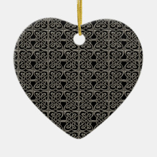 Silver And Black Connected Ovals Celtic Pattern Ceramic Ornament