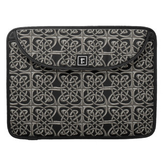 Silver And Black Connected Ovals Celtic Pattern MacBook Pro Sleeve