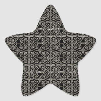 Silver And Black Connected Ovals Celtic Pattern Star Sticker