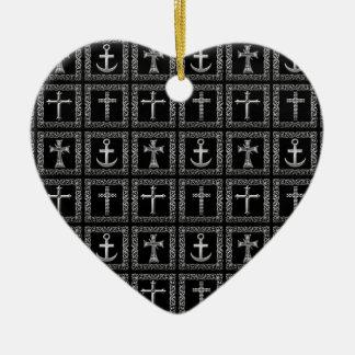 Silver and Black Cross Pattern Ceramic Ornament