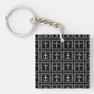 Silver and Black Cross Pattern Double-Sided Square Acrylic Keychain