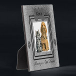 "Silver and Black Custom Pet Memorial Plaque<br><div class=""desc"">Upload your photo into the square frame of this template for an awesome way to display your dog or cats memorial. Design features a pet tag on the top for the name, two paw prints on each side of the square frame and a spot on the bottom to put a...</div>"