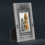 """Silver and Black Custom Pet Memorial Plaque<br><div class=""""desc"""">Upload your photo into the square frame of this template for an awesome way to display your dog or cats memorial. Design features a pet tag on the top for the name, two paw prints on each side of the square frame and a spot on the bottom to put a...</div>"""