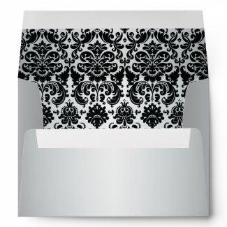 Silver and Black Damask Envelope for 5