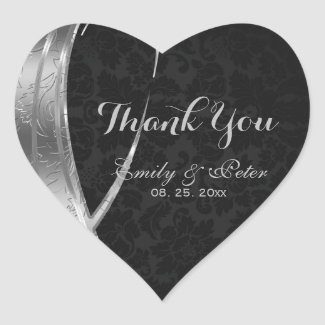 Silver And Black Damask-Thank You