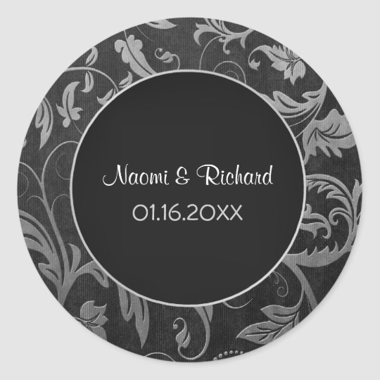 Silver and Black Damask Wedding Seal - Customize