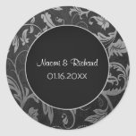 Silver and Black Damask Wedding Seal - Customize Round Sticker