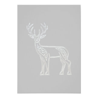 Silver And Black Deer Celtic Style Knot 5x7 Paper Invitation Card