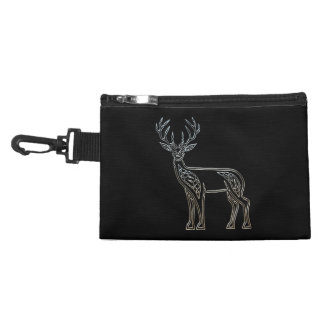 Silver And Black Deer Celtic Style Knot Accessory Bag