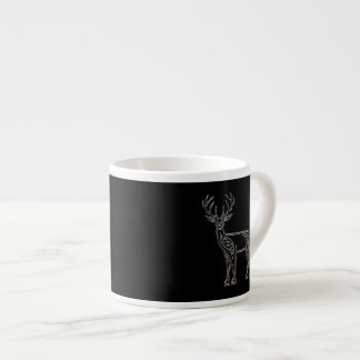 Silver And Black Deer Celtic Style Knot Espresso Cup