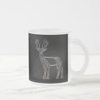 Silver And Black Deer Celtic Style Knot Frosted Glass Coffee Mug