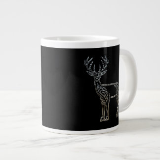 Silver And Black Deer Celtic Style Knot Giant Coffee Mug