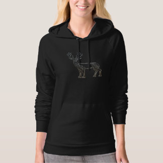 Silver And Black Deer Celtic Style Knot Hooded Pullovers