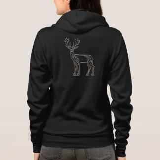 Silver And Black Deer Celtic Style Knot Hoodie