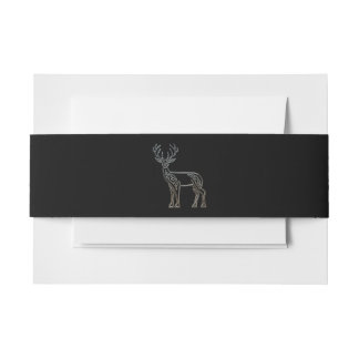 Silver And Black Deer Celtic Style Knot Invitation Belly Band