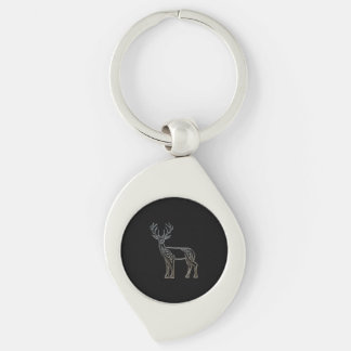 Silver And Black Deer Celtic Style Knot Keychain