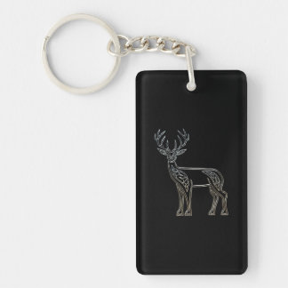 Silver And Black Deer Celtic Style Knot Double-Sided Rectangular Acrylic Keychain