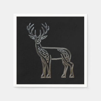 Silver And Black Deer Celtic Style Knot Paper Napkin