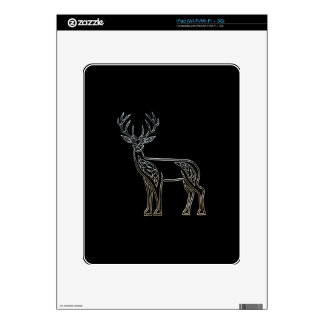 Silver And Black Deer Celtic Style Knot iPad Skin