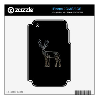 Silver And Black Deer Celtic Style Knot iPhone 3G Decals