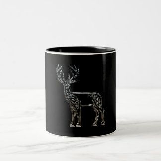 Silver And Black Deer Celtic Style Knot Two-Tone Coffee Mug