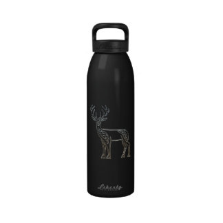 Silver And Black Deer Celtic Style Knot Reusable Water Bottle